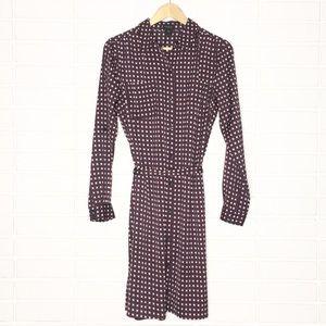 Ann Taylor | Navy/Red/White Square Print Dress